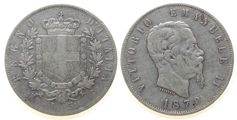 5 Lire 1870 Italien Ag Emanuel II, M (Mailand), kleine Randfehler ss