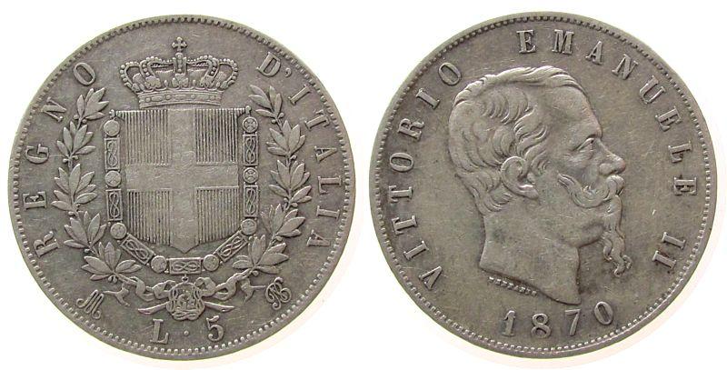 5 Lire 1870 Italien Ag Emanuel II, M (Mailand), Gigante 40 ss