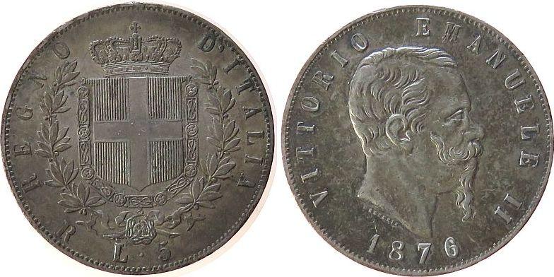 5 Lire 1876 Italien Ag Emanuel II, R (Rom), Randstöße ss