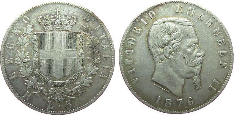 5 Lire 1876 Italien Ag Emanuel II, R (Rom) ss