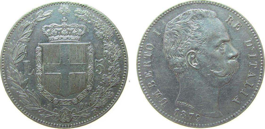 5 Lire 1879 Italien Ag Umberto I, R (Rom), kleiner Randstoß fast vz