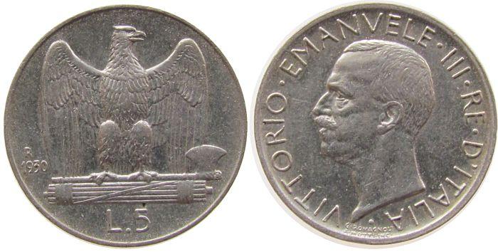 5 Lire 1930 Italien Ag Victor Emanuel III vz