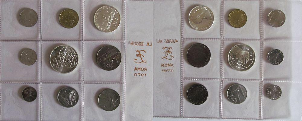 1688 Lire 1970 Italien div. Kursmünzensatz in Folie, 1-1000 Lire, 9 Münzen unz