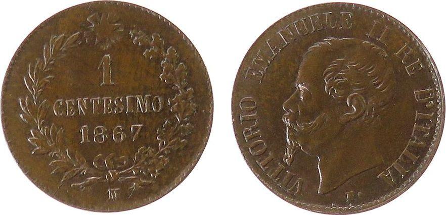1 Centisimo 1867 Italien Ku Victor Emanuel II, Mzz: M, einige wenige feinste Kratzerchen auf der Wertseite stgl-