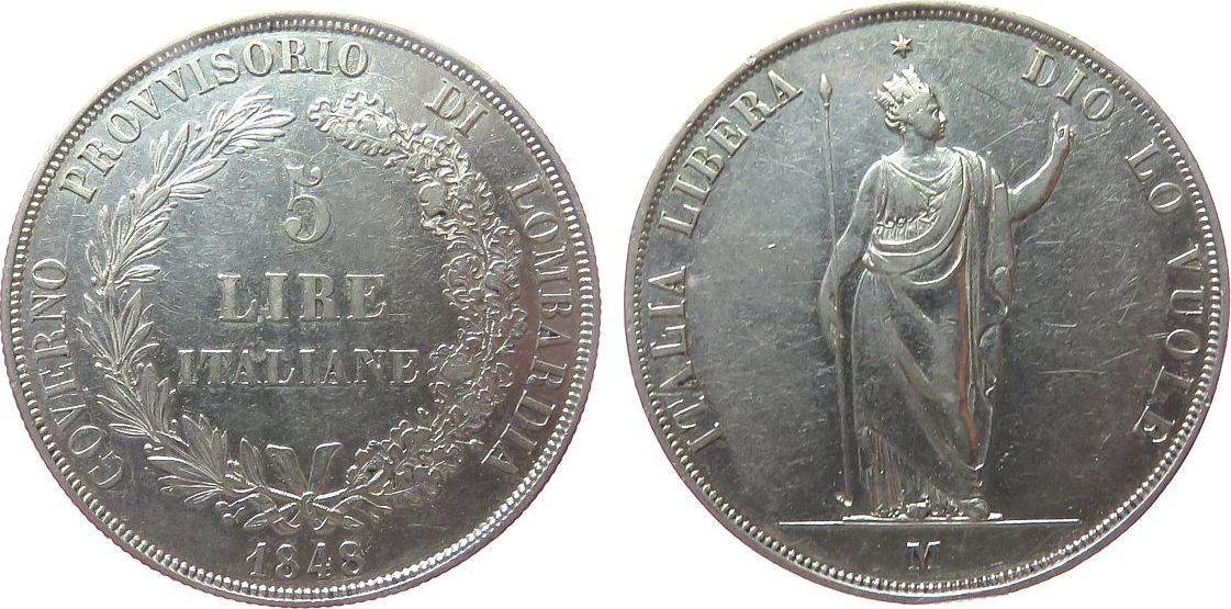 5 Lire 1848 Lombardei Venedig Ag Provisorische Regierung, Mailand, Randstoß ss