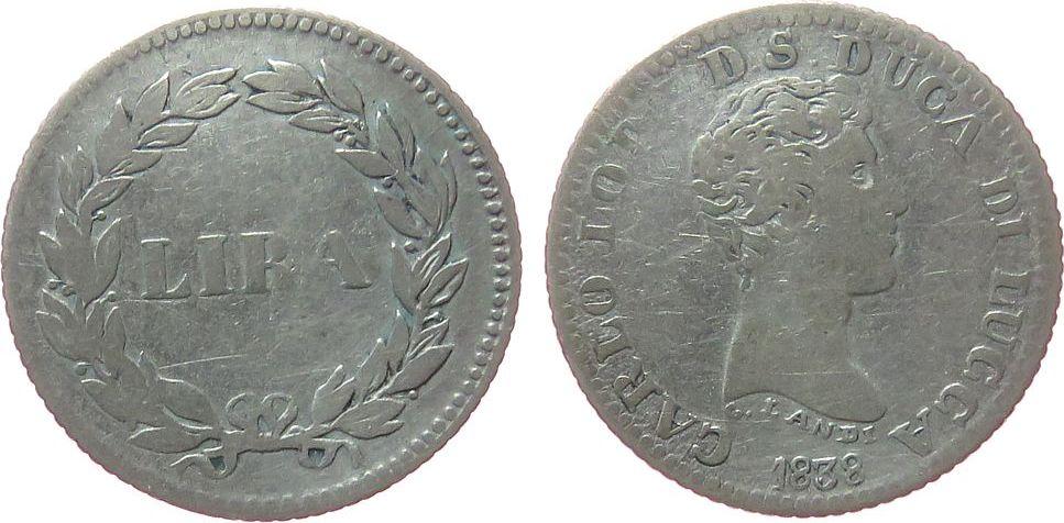 1 Lira 1838 Lucca Ag Carlo Ludovico Di Borbone gutes schön