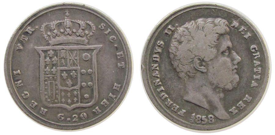 1 Tari / 20 Grana 1858 Neapel u. Sizilien Ag Ferdinando II, kleiner Randfehler, 1 in 1858 Doppelsenkung fast ss