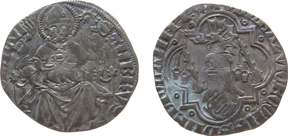 1 Grosso 1360 - 78 o.J. Mailand Ag Galeazzo II, Visconti (1355-78), 1 1/2 Soldi, Helm mit Drachenkopf als Helmzier über schräggestellem Wappen, links u. rechts ss