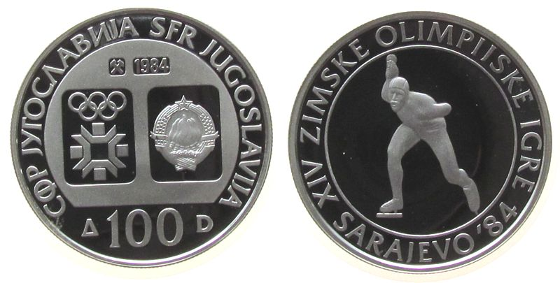 100 Dinara 1984 Jugoslawien Ag Olympiade Sarajewo, Eisschnellauf pp