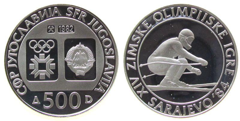 500 Dinara 1982 Jugoslawien Ag Olympiade Sarajewo, Abfahrtslauf pp