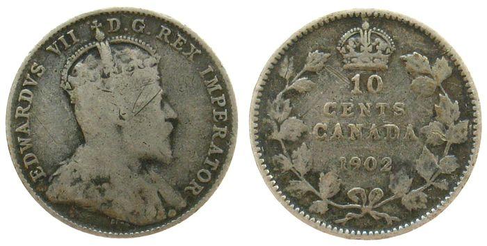 10 Cents 1902 Kanada Ag Edward VII schön