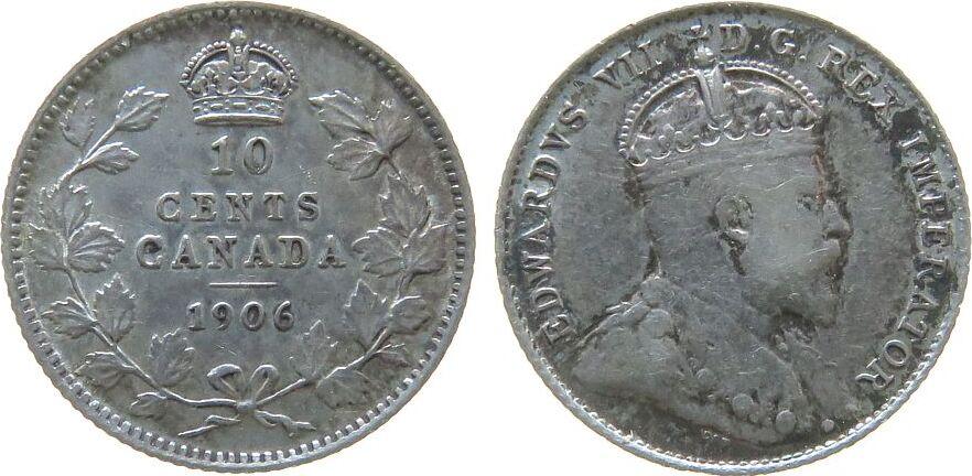 10 Cents 1906 Kanada Ag Edward VII s / ss