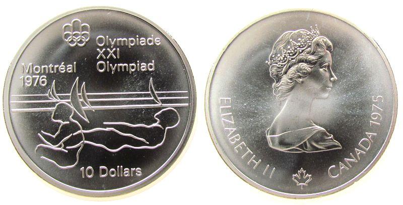 10 Dollar 1975 Kanada Ag Olympiade Montreal, Segeln, 44,955 Gramm Silber fein stgl