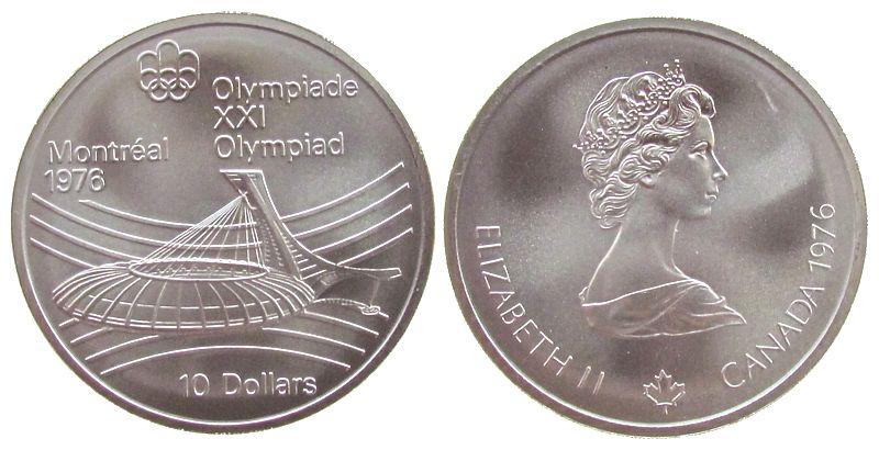 10 Dollar 1976 Kanada Ag Olympiade Montreal Stadion 44955 Gramm