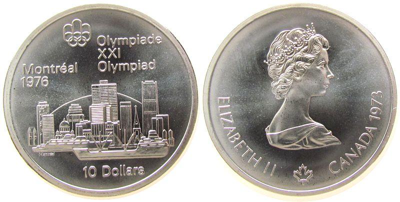 10 Dollar 1973 Kanada Ag Olympiade Montreal, Skyline stgl