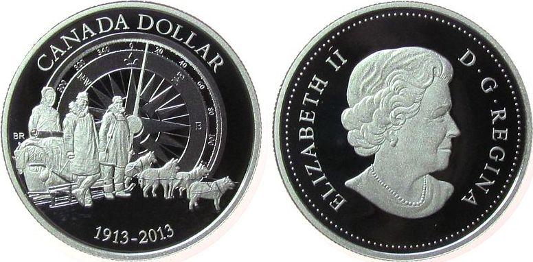 1 Dollars 2013 Kanada Ag Arktis Expedition, ohne Etui mit Zertifikat pp
