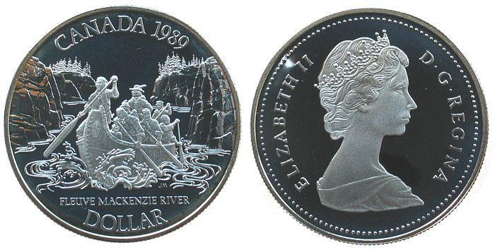 1 Dollar 1989 Kanada Ag Mack Kenzie pp