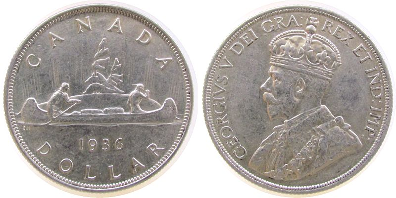 1 Dollar 1936 Kanada Ag Georg V, Kanu, kleiner Randfehler vz