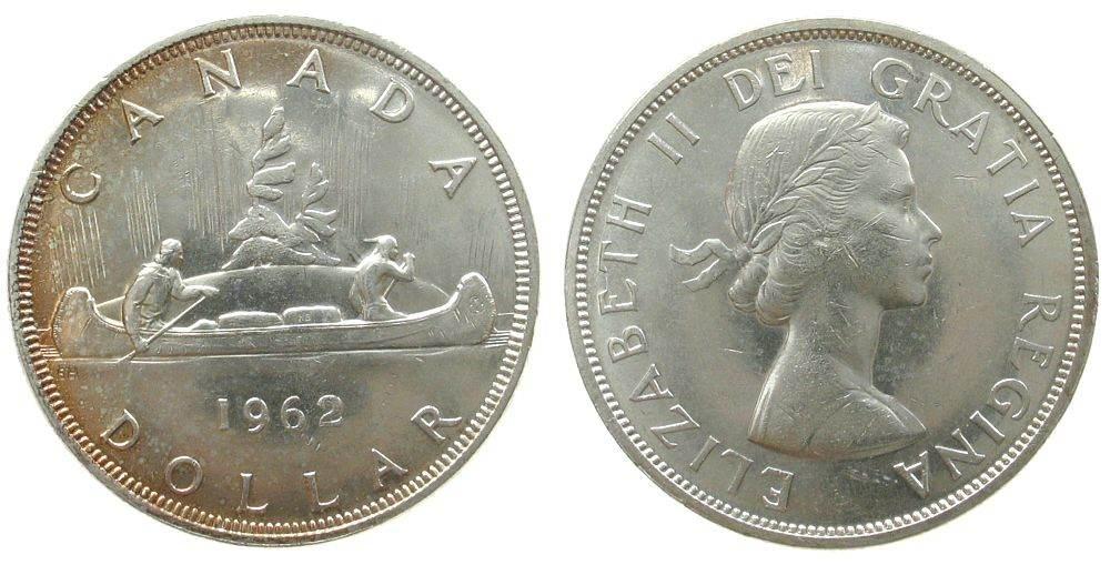 1 Dollar 1962 Kanada Ag Elisabeth II, Kanu vz+