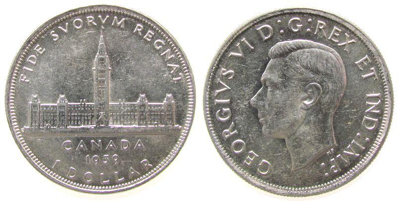 1 Dollar 1939 Kanada Ag Georg VI, Königlicher Besuch vz-unc