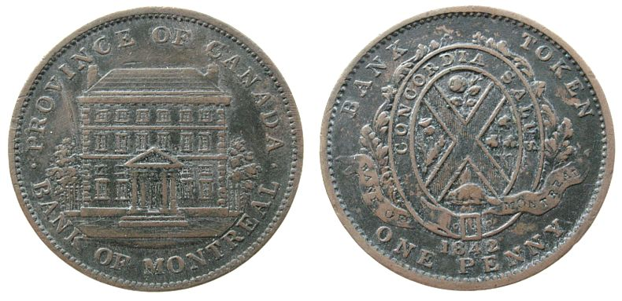 1 Penny-Token 1842 Kanada Ku Bank of Montreal, Kratzer ss