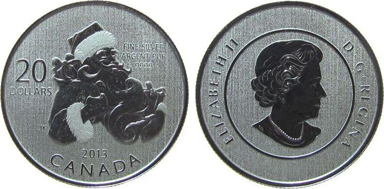 20 Dollar 2013 Kanada Ag Santa Claus, ohne Verpackung stgl