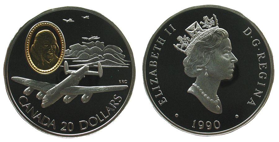 20 Dollar 1990 Kanada Ag Faquier John Emilius, Bomber Lancaster, mit Gold-Inlay, ohne Box ohne Zertifikat pp