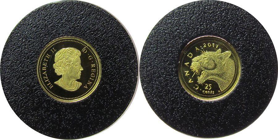 25 Cents 2011 Kanada Au Puma, Etui mit Zertifikat, 0,5 Gramm/.999 pp