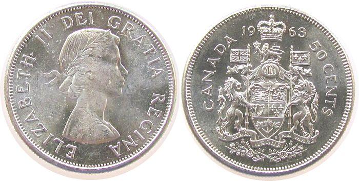 50 Cents 1963 Kanada Ag Elisabeth II unz