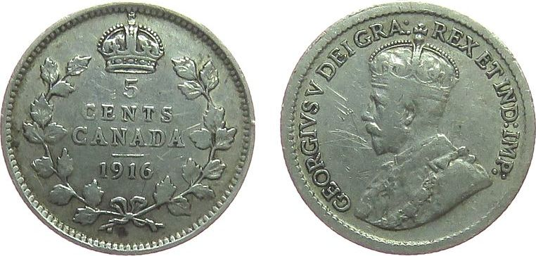 5 Cents 1916 Kanada Ag Georg V ss-