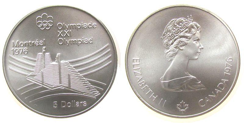5 Dollar 1976 Kanada Ag Olympiade Montreal, Olympisches Dorf, 22,478 Silber fein stgl