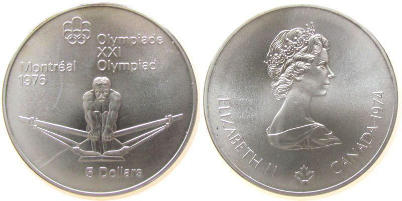 5 Dollar 1974 Kanada Ag Olympiade Montreal, Rudern, 22,478 Gramm Silber fein stgl
