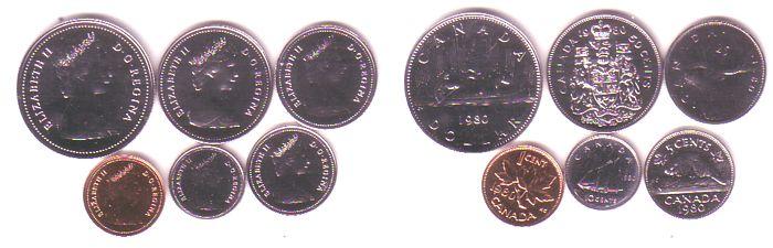 1,91 Dollar 1980 Kanada div. 0,01-1$, lose pl