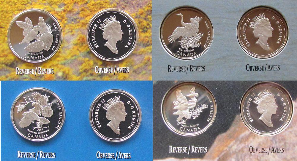 4 x 50 Cents 1995 Kanada Ag Schneehuhn, Papageientaucher, Kranich, Meisenhäher, Original Blister pp
