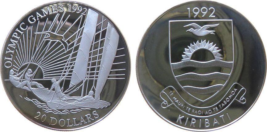 20 Dollar 1992 Kiribati Ag Olympiade Segeln pp
