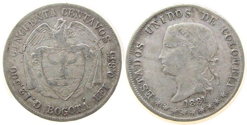 50 Centavos 1881 Kolumbien Ag Bogota, Schrötlingsfehler am Rand fast ss