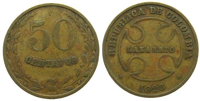 50 Centavos 1928 Kolumbien Ms Lazarettgeld ss