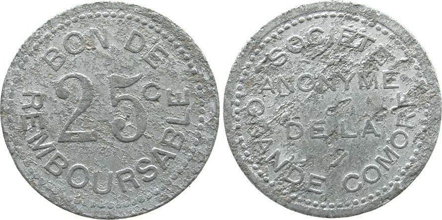 25 Centimes o.J.(1915) Komoren Al Société anonyme, KM Tn1, korrodiert fast ss