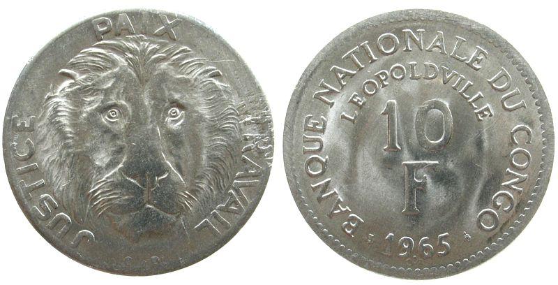 10 Francs 1965 Kongo DR. Al Löwenkopf unz