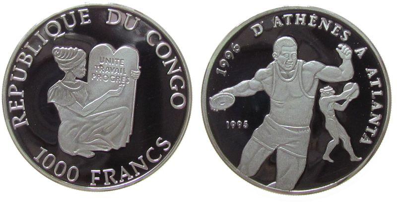 1000 Francs 1995 Kongo Republik Ag Olympiade Diskuswerfer pp