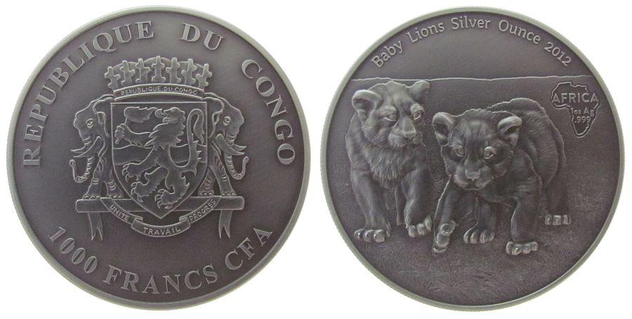 1000 Francs 2012 Kongo DR. Ag junge Löwen, CFA, ohne Etui, mit Zertifikat stgl