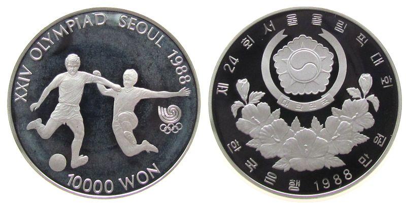 10000 Won 1988 Korea Süd Ag Olympiade Fußball, etwas angelaufen pp