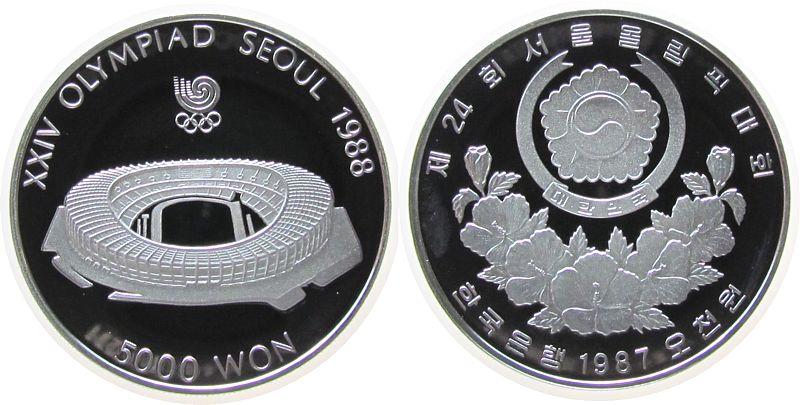 5000 Won 1987 Korea Süd Ag Olympiade Stadion pp