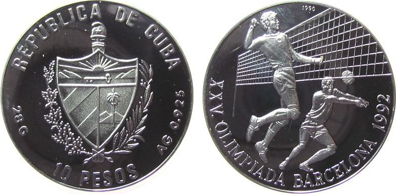 10 Pesos 1990 Kuba Ag Olympiade Volleyball, minimale Handlingsmarken pp