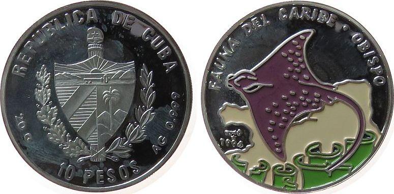 10 Pesos 1994 Kuba Ag Rochen, Farbmünze, fleckig, feine Handlingsmarken pp