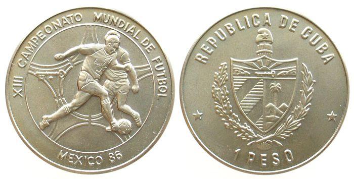 1 Peso 1986 Kuba KN Fußball WM Mexiko, Schön 126 unz