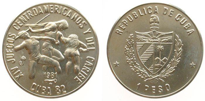 1 Peso 1981 Kuba KN Zentralamerikanische und karibische Spiele/3 Athleten, Schön 68 unz