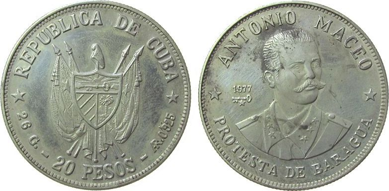 20 Pesos 1977 Kuba Ag Antonio Maceo, fleckig, etwas berieben pp