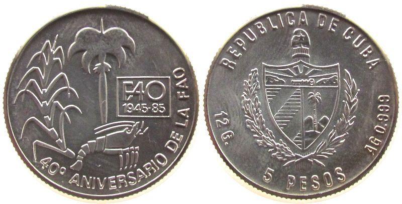 5 Pesos 1985 Kuba Ag FAO - Zuckerrohr, Hummer, Palme unz