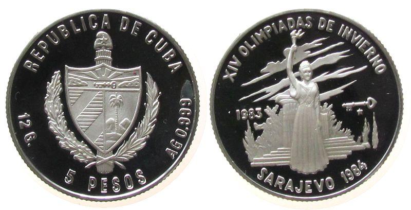 5 Pesos 1983 Kuba Ag Olympiade Frau mit Fackel pp